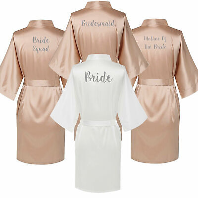 Champagne Personalized Satin Silk Wedding Bride Robe Bridesmaid Maid Honor Gown](Personalized Bridesmaid Robes)