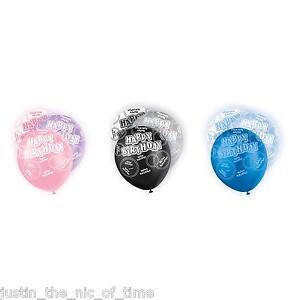 PINK BLUE BLACK Glitz 13th-100th Birthday Party Pearlised LATEX Balloons 12