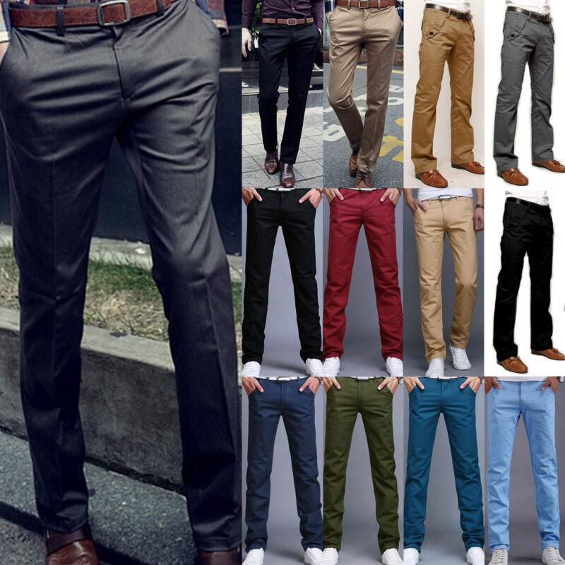 Mens Formal Business Chinos Dress Pants Slim Fit Casual Smar
