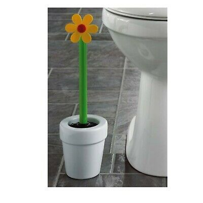 WENKO Novelty Quality Cream Ceramic Flower Toilet Silicone Bristle Brush