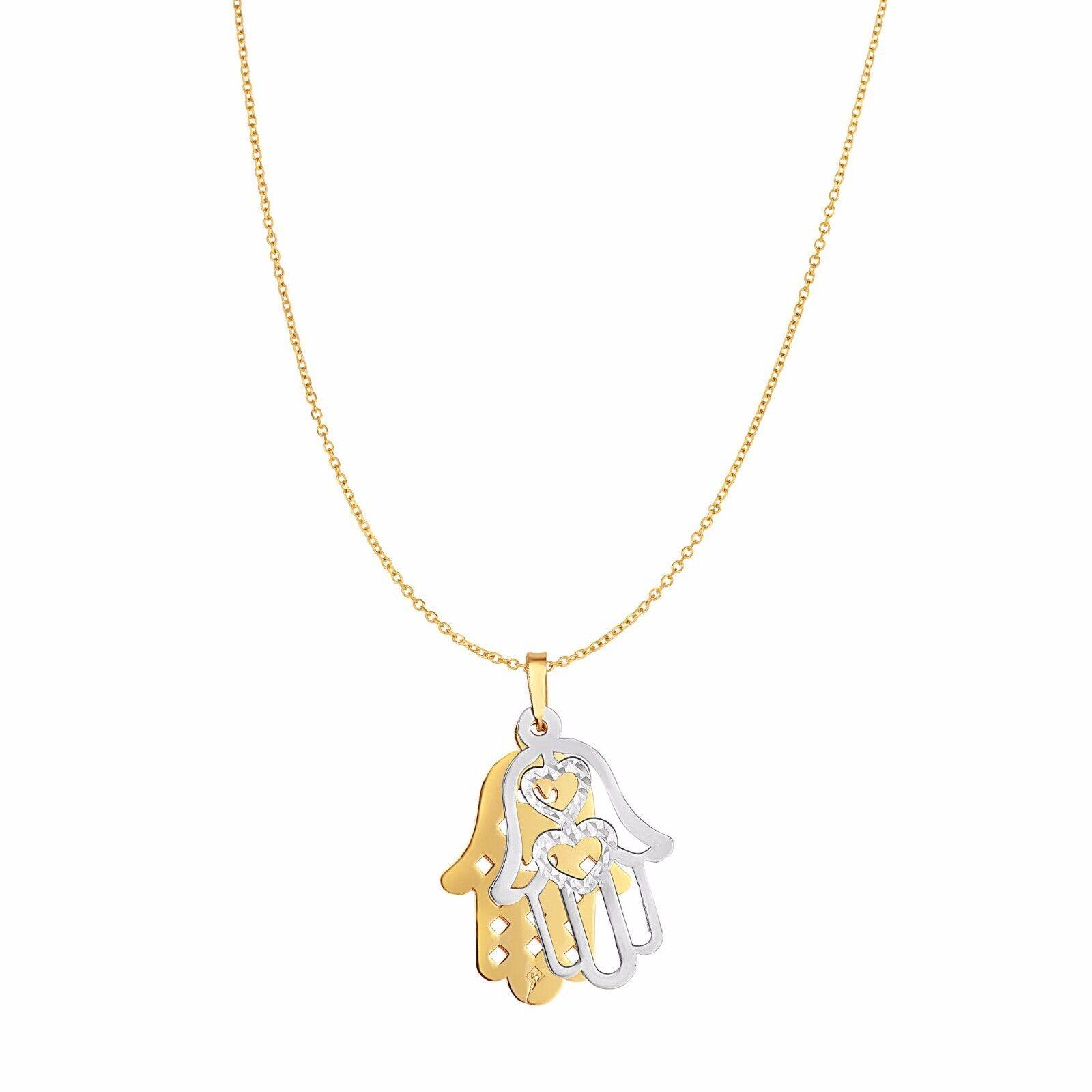 14k Solid Yellow Gold Textured Filigree Hamsa Hand of Fatima Pendant