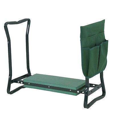 Foldable Kneeler Garden Kneeling Bench Stool Soft Cushion Seat Pad w Tool (Kneeler Bench)