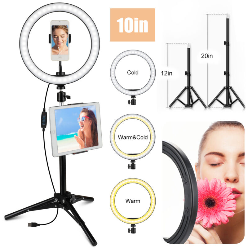 """10"""" Selfie LED Ring Light with Tripod Phone Holder Stand For Makeup Live Stream"""