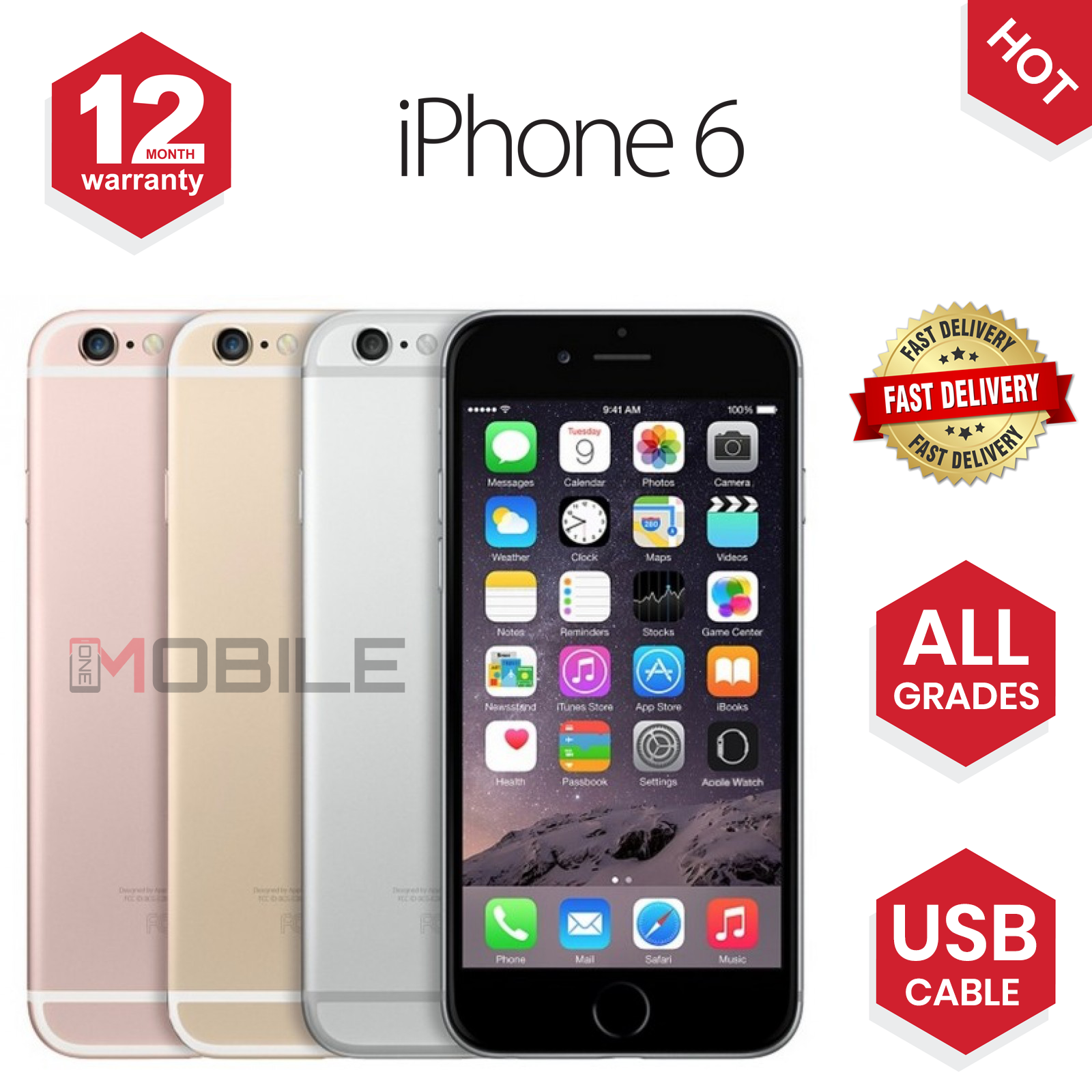 SELLER REFURBISHED APPLE IPHONE 6 16GB/64GB UNLOCKED SIM FREE SMARTPHONE  - ALL COLOURS