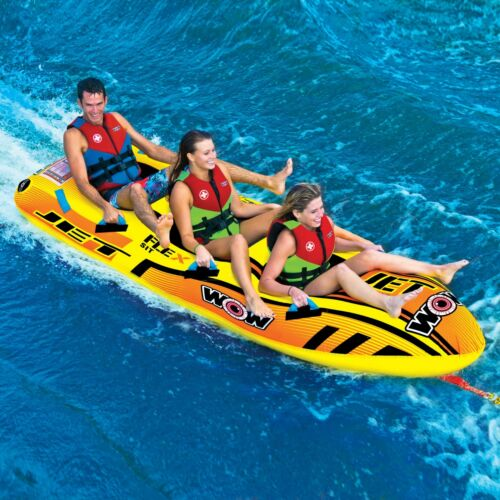 WOW Watersports Jet Boat 1-3 Rider Inflatable Water Tube Boat Towable 17-1030