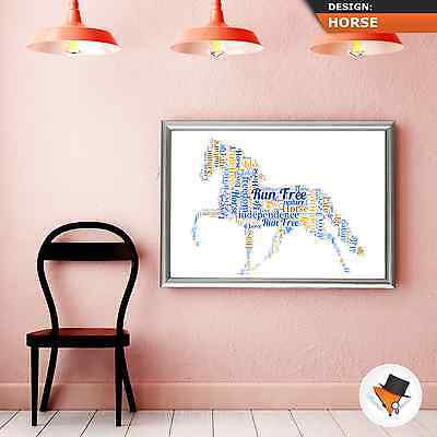 HORSE WORD ART PERSONALISED UNIQUE CHRISTMAS PRESENT BIRTHDAY GIFT IDEA HIM HER ()