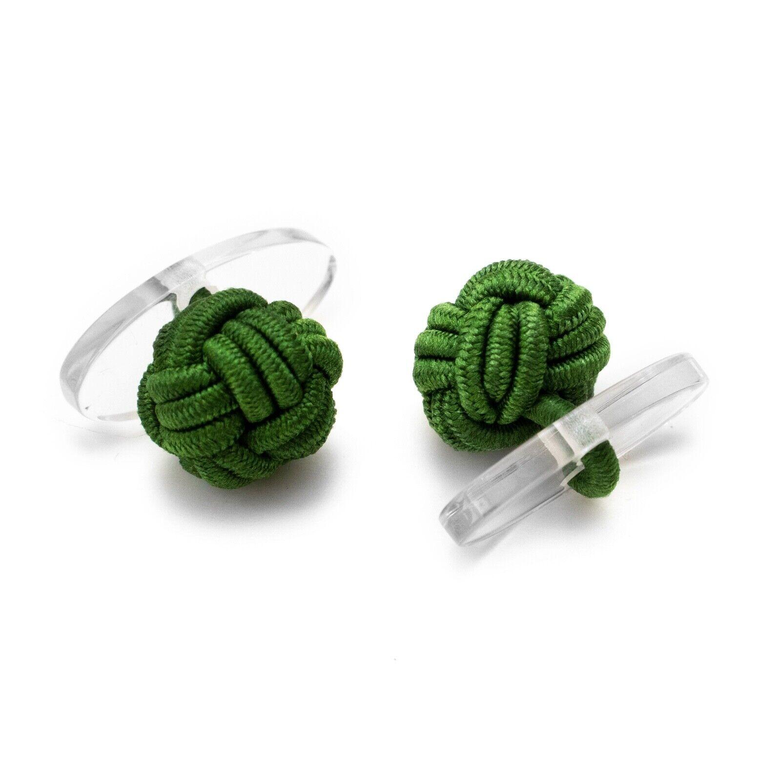 1 Paar Seidenknoten Manschettenknöpfe Knötchen dunkelgrün mit Kunststoff Steg