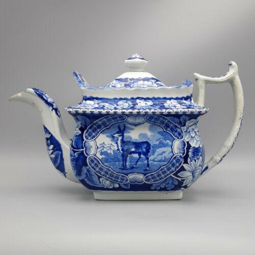 "19th C. Staffordshire Transferware Teapot – ""Tibetian Musk Deer"" Pattern"