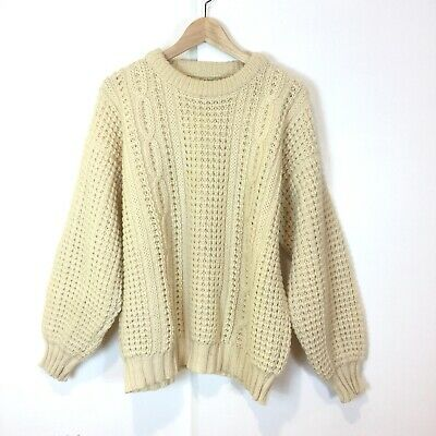 Bonner of Ireland 100% Wool Chunky Knit Fisherman Sweater Men's Medium Ivory