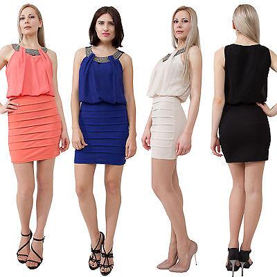 Beaded neckline blouson sleeveless dress Above Knee Mini Cocktail, S, M, L Solid