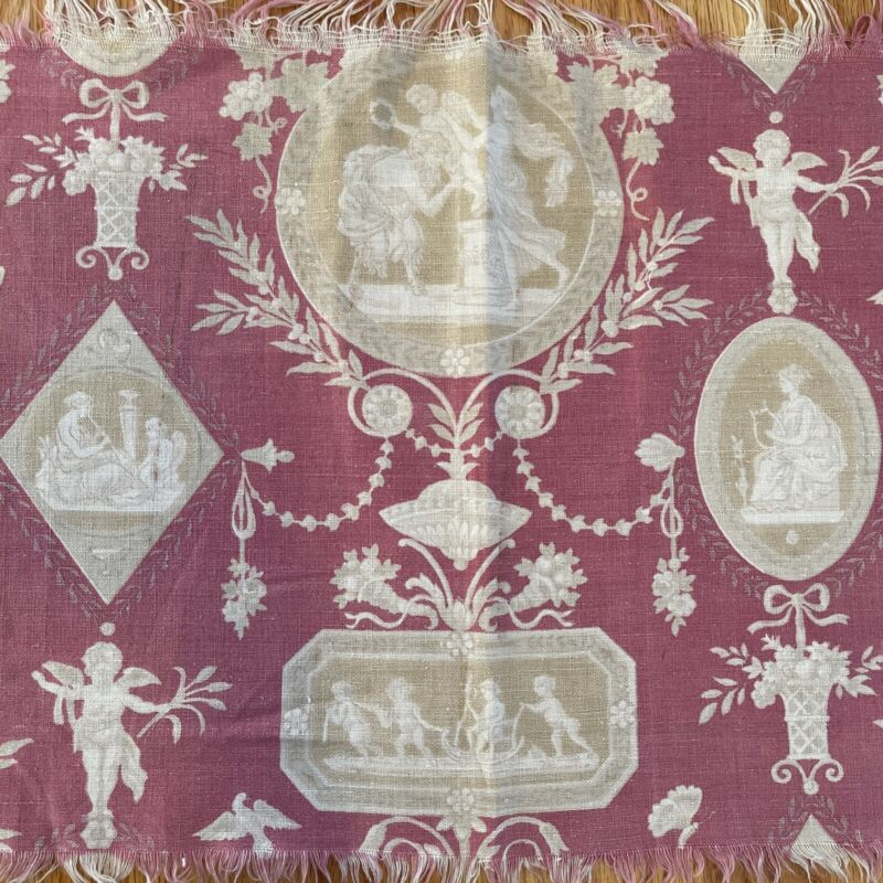 Antique/Vintage French Linen c. 1930s Faded Raspberry Toile Neoclassical Runner