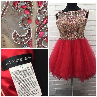 Alyce Paris Dress Short Red Diamanté Sheer Tutu Unique Prom Party Princess Sz 8](Unique Tutu Dress)
