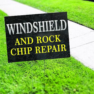Wind Shield And Rock Chip Repair Novelty Indoor Outdoor Coroplast Yard Sign