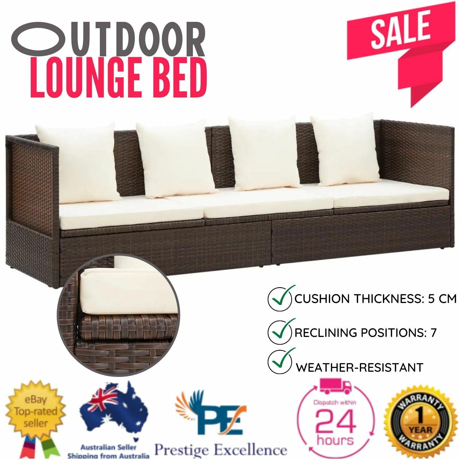 Garden Furniture - PE Wicker Day Bed Outdoor Furniture Lounge Patio Sofa Garden Setting w/ Cushion