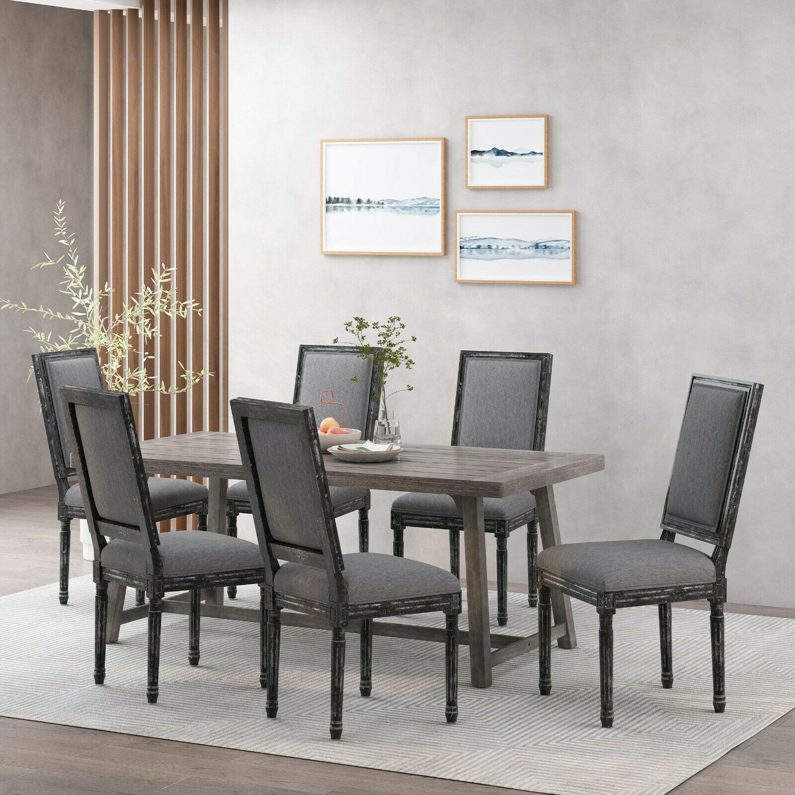 Amy French Country Wood Upholstered Dining Chair (Set of 6) Chairs