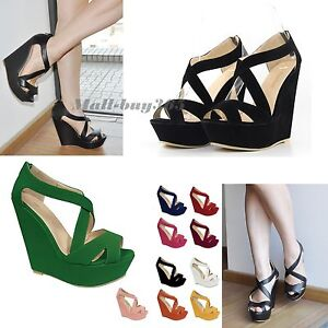 Women-Platforms-Sandals-High-Wedges-Shoes-Nubuck-Leather-AU-Size-3-5-8-5