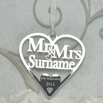 Personalised Mr and Mrs Heart Anniversary Gift / Christmas decoration - Silver
