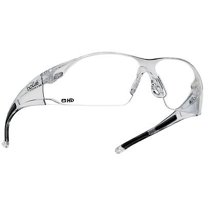 Bolle 40113 Rush Safety Glasses Hydrophobic Clear Hd Lens Clear Temples
