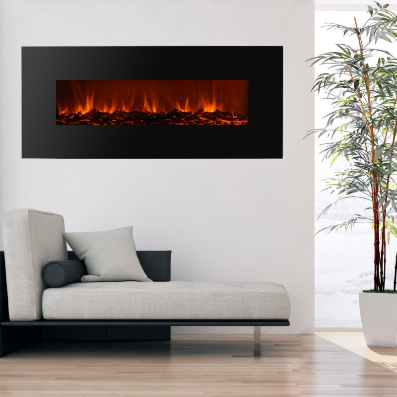 """50"""" Wall Mount Electric Fireplace Heater Remote Adjustable Flame Heat Unit 1500W"""