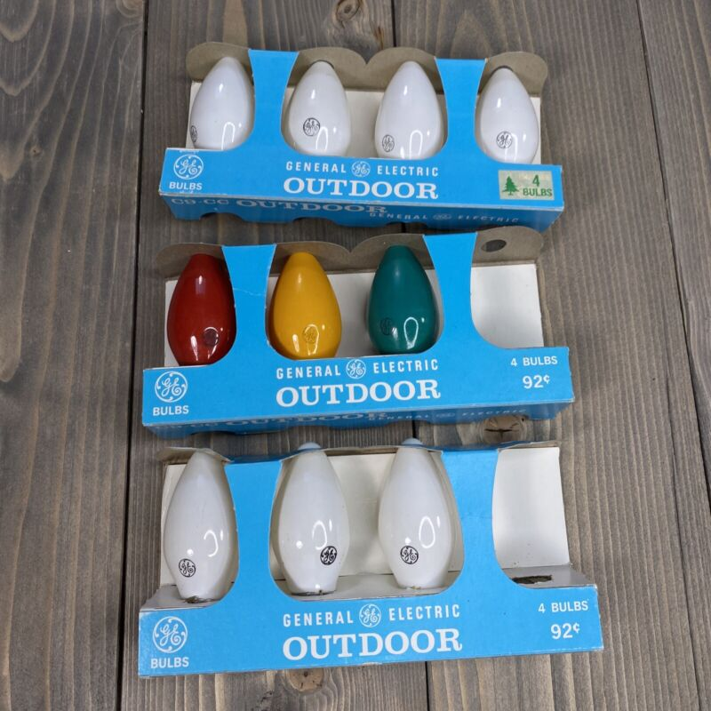 10 Bulbs- GE C9-CC White + Colors Christmas Bulbs Vintage Outdoor Lights NOS C-9