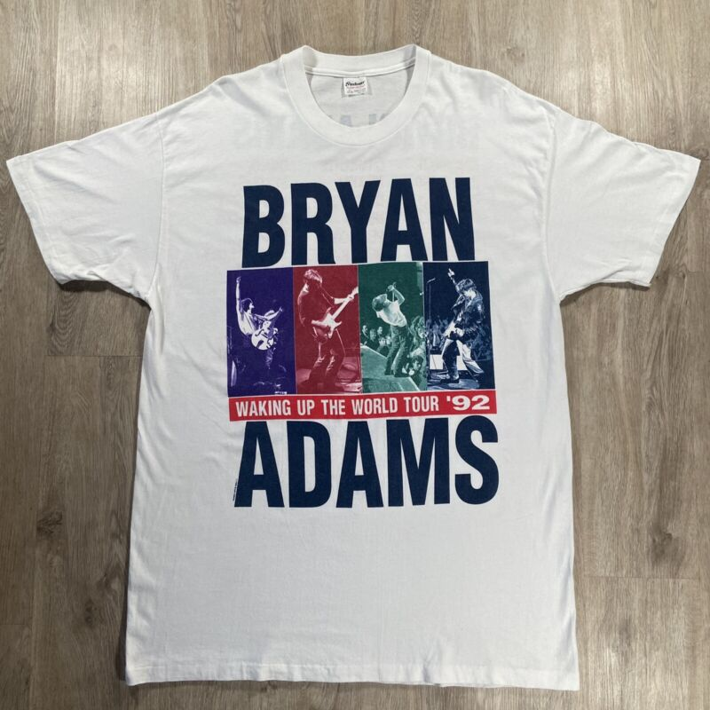 Vintage Bryan Adams T-Shirt 1992 Waking Up The World Tour SS VTG90 White Size XL