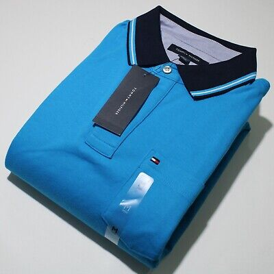 Men's Tommy Hilfiger Short Sleeve Light Blue and Black Polo Shirt | NWT