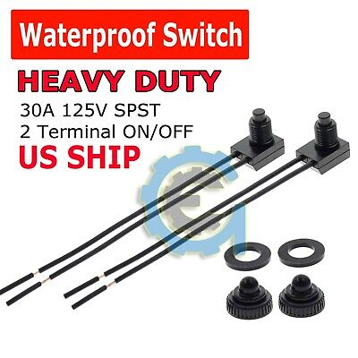 2pcs 12v 4 Wire Leads Waterproof On-off Push-button Switch For Motorcycle Car
