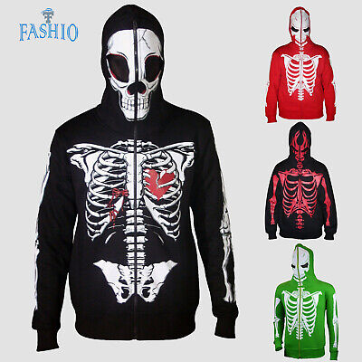Mens Halloween Costume Sweatshirt Full Face Mask Skeleton Skull Hoodie  - Mens Skeleton Hoodie