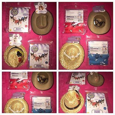 LOT4 Rubies PetShop Boutique Med/Large Dog Western/Fedora Hats & Poncho Bandanas