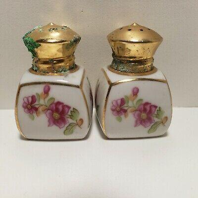 Lovely Pretty Condiment Set Vintage 1980/'s Salt /& Pepper Pots Cruet Set Pink and Purple Poppies Floral Detail In Good Condition