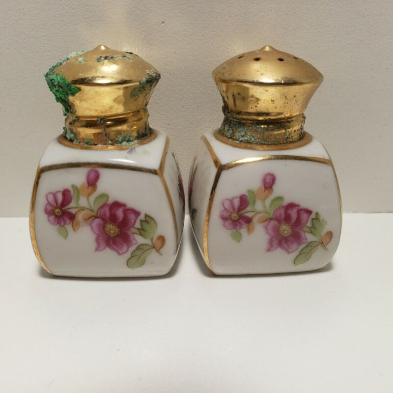 Porcelain Irice Red Rose Floral Salt and Pepper Shakers Vintage Antique