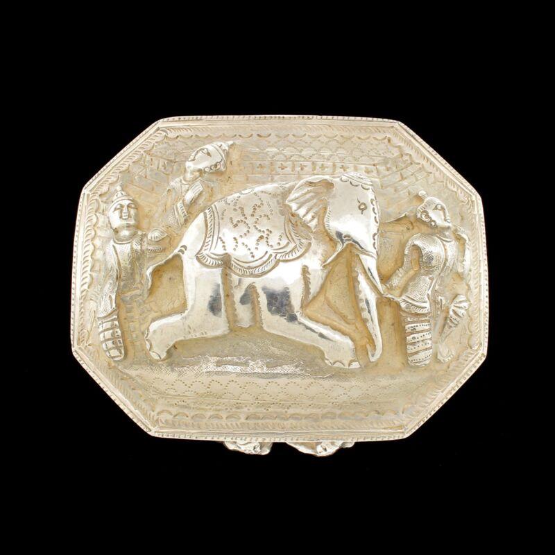 Vtg 900 Silver Trinket Box Elephant Figural Burmese Dancers Fine Example
