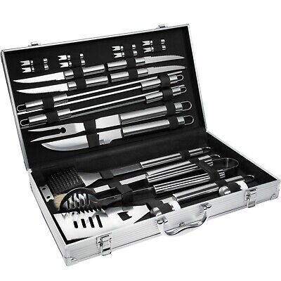 25 Piece Stainless Steel Barbeque Set Utensil Cutlery Kitchen Tools Case New