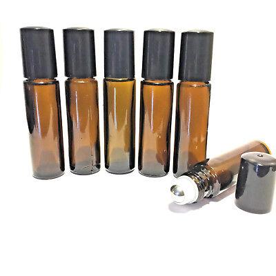 3 - Pack 10ml Glass Amber Steel Roller Bottles for Essential Oils.65c each!!!