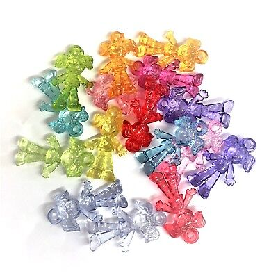20 x Mixed Colour Transparent Rag Doll Dolly Charms Novelty Beads - Novelty Beads Wholesale
