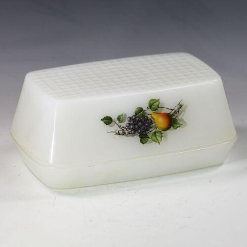 Vintage France Arcopal large Butter Dish White Milk opaque Glass Fruit Pattern