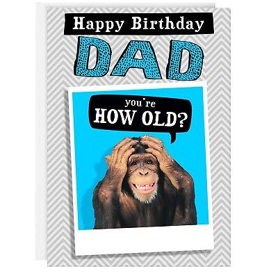 DAD BIRTHDAY CARD - Funny Humour Joke Monkey Good Grief Old REAL PHOTO