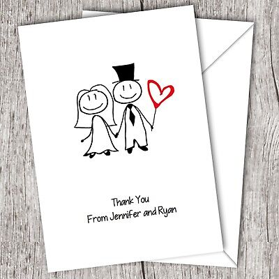 Wedding Thank You Cards • Personalised • Folded  • Includes Envelopes (Cartoon)