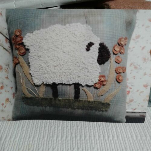 "L SHEEP PILLOW -  Pattern Drawn On Wool, KIT, and wool to hook SHEEP 14"" square"