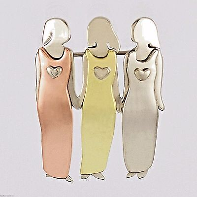Far Fetched 3 Sisters Pin Brooch Three Mima   Oly Family Best Friend Girlfriends