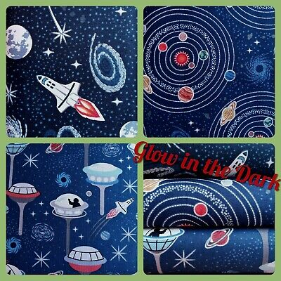 GLOW IN THE DARK Space Navy Cotton Fabric by Lewis and Irene, per FQ 110cm wide