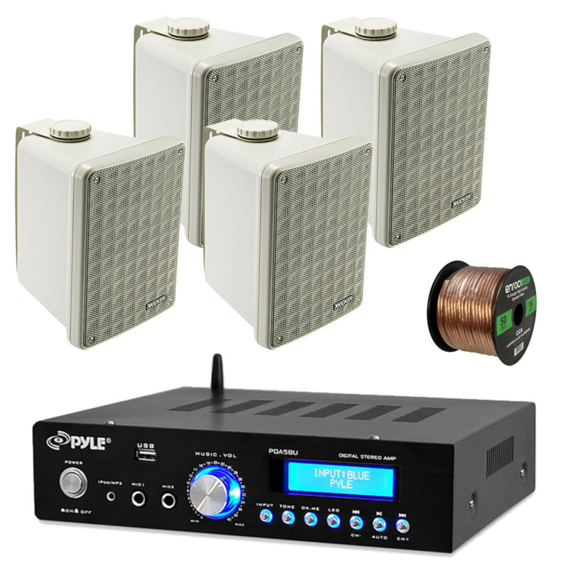 "Pyle PDA5BU Bluetooth USB Amplifier, 2 Kicker 6.5"" Box Marine Speaker and Wiring"