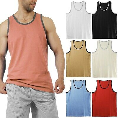 Men's Tank Top Muscle Gym Sleeveless Plain T-Shirts Tee A-Shirt 100%Cotton (Cotton Tank Top Shirt)