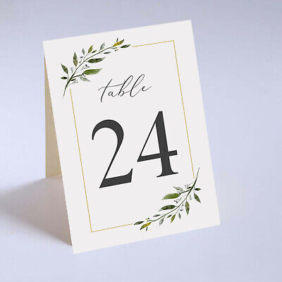 Tented Wedding Table Numbers, Greenery Table Cards, Autumn Wedding Table Decor](Table Number)