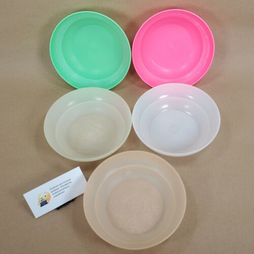 Vintage Set of 5 Tupperware Classics Serial Bowls # 155 Pink Green White Yellow