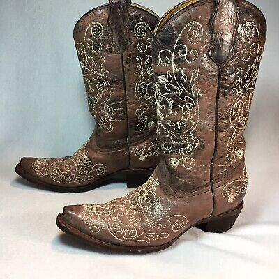 CORRAL Teen Embroidered Brown Leather Cowboy Boots Teen Girls Size 4 T
