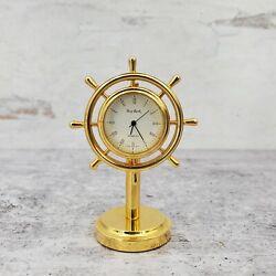 Vintage Bey-Berk Japan Nautical Stainless Brass Ship Wheel Desk Clock