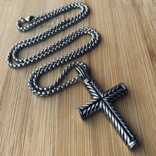 Jewellery - MENDEL Boys Mens Stainless Steel Vintage Cross Pendant Necklace Men Women Silver