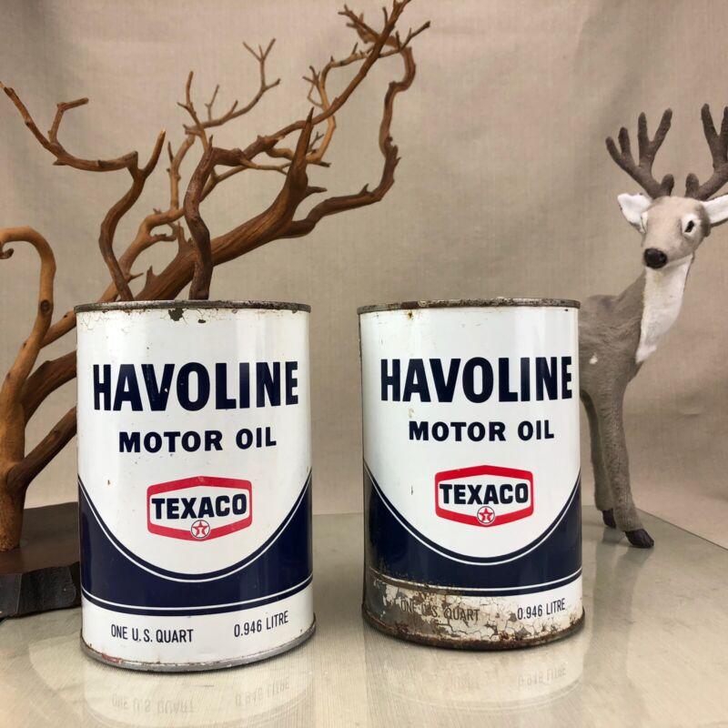 2x Texaco Havoline Vintage Motor Oil 1 Quart Metal Cans