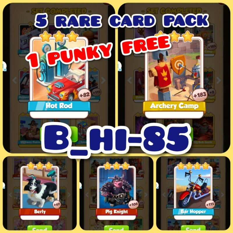 Coin Master Cards Hot Rod Archery Camp Pig Knight Berly Bar Hopper (1 Punky free